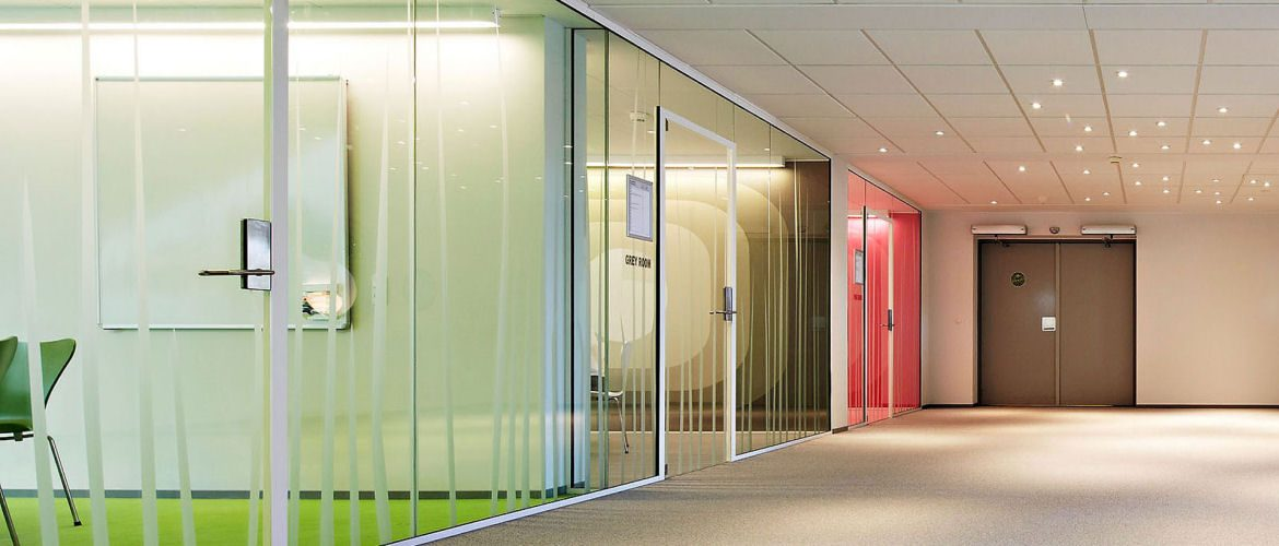 Glazed office partitions and suspended ceiling